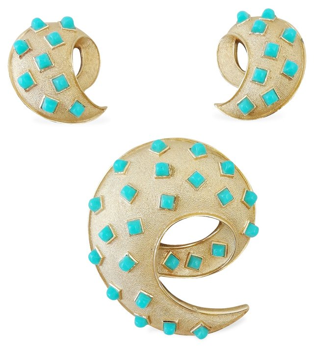 Trifari Faux-Turquoise Brooch & Earrings
