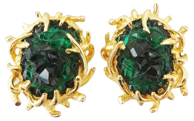 1960s Boucher Faux-Emerald Earrings