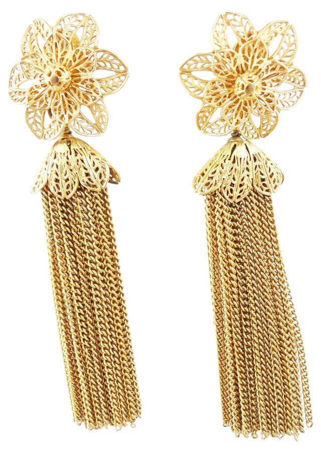 1960s Napier Flower Tassel Earrings