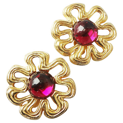 1980s Givenchy Stylized Flower Earrings