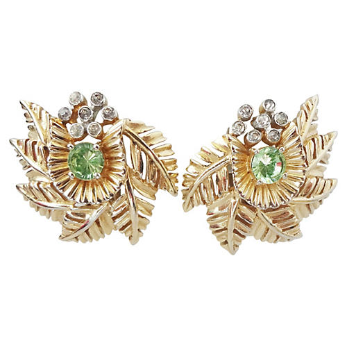 1960s Jomaz Faux-Peridot Earrings