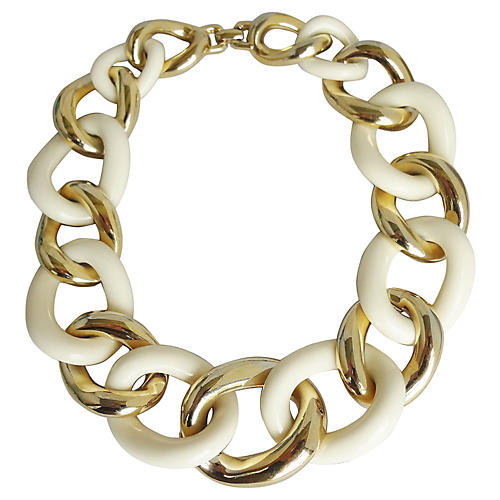 Givenchy White Link Collar Necklace
