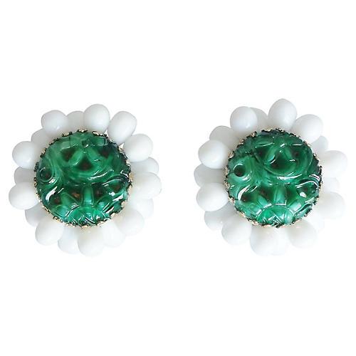 Napier Faux-Jade & White Lucite Earrings