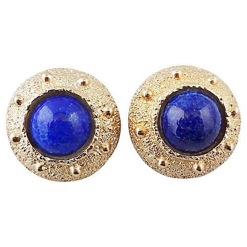 1970s Napier Faux-Lapis Earrings