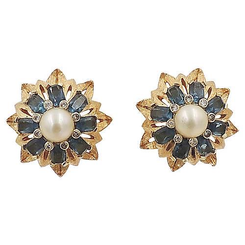 Jomaz Faux-Sapphire & Pearl Earrings
