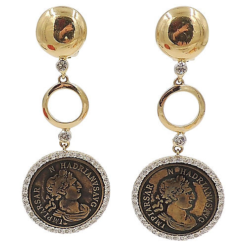 1980s Valentino Roman-Coin Earrings