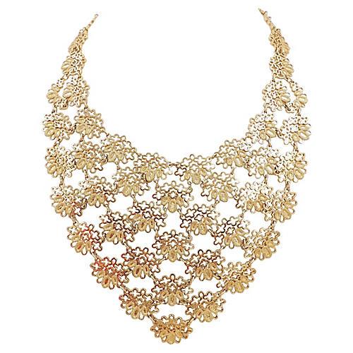 Monet Goldtone Bib Necklace, 1968