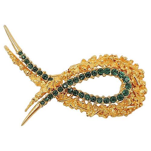 Boucher Modernist Faux-Emerald Pin