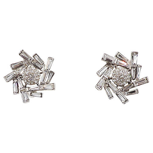 1950s Boucher Rhinestone Burst Earrings