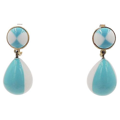 1950s Trifari Blue & White Drop Earrings