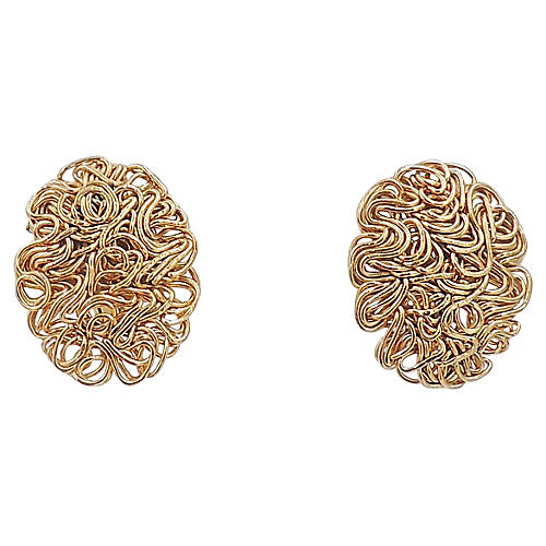 Napier Golden Tangles Earrings, 1967