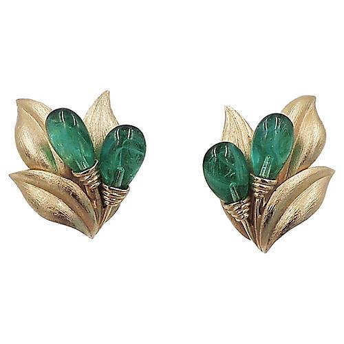 Trifari Givré Faux-Emerald Earrings