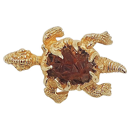 1960s Boucher Faux-Topaz Turtle Pin