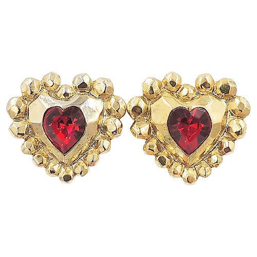1980s Ungaro Heart Earrings