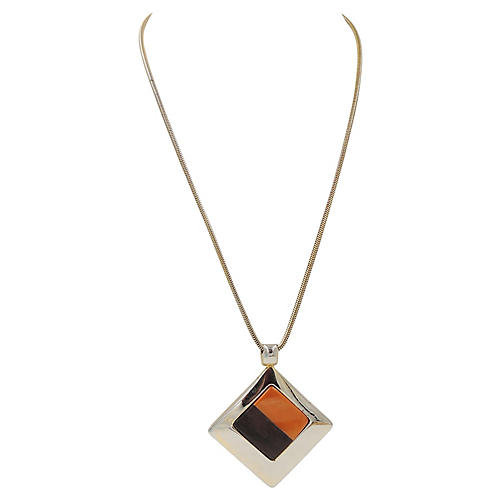 Dior Wood & Lucite Pendant Necklace