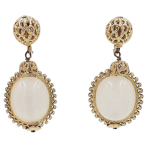 Napier Faux-Moonstone Drop Earrings