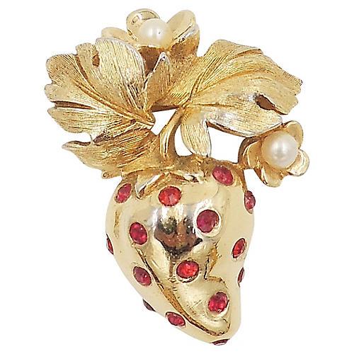 1960s Jomaz Rhinestone Strawberry Pin