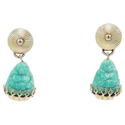 1960s Napier Faux-Jade Buddha Earrings