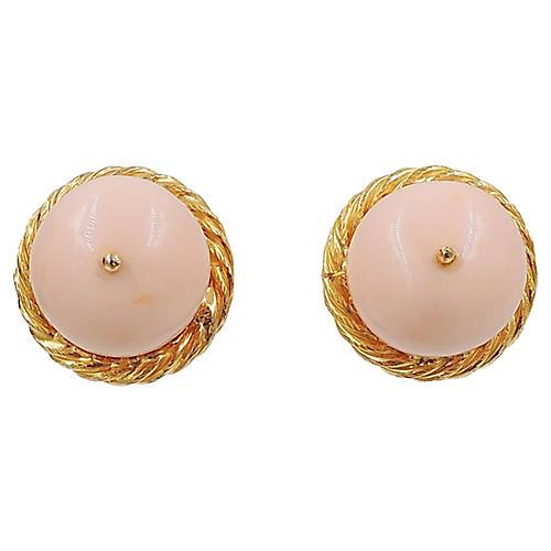 Delillo Cabochon Faux-Coral Earrings