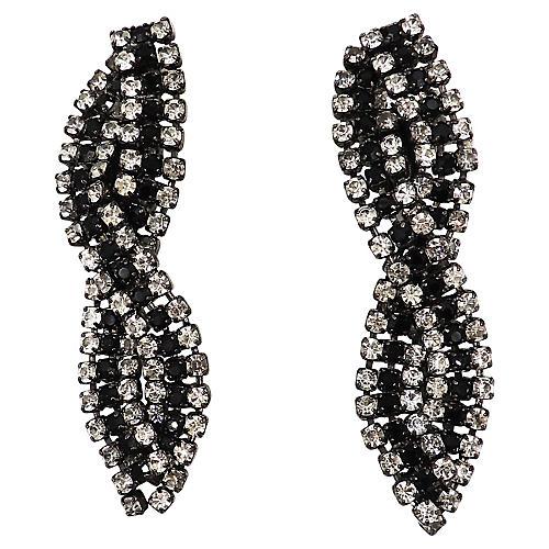 Alexis Kirk Japanned Rhinestone Earrings