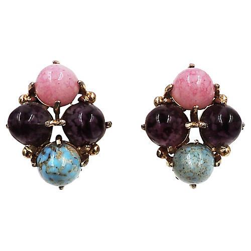 1960s Rhinestone Cabochon Earrings