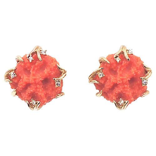 1970s Boucher Faux-Coral Earrings
