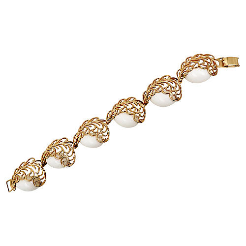 Napier Filigree White Resin Bracelet