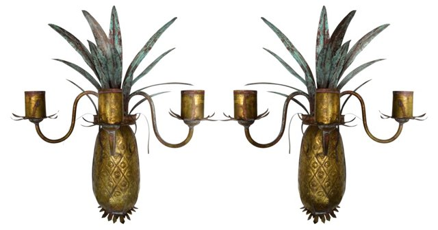 Brass Pineapple Candle Sconces, Pair