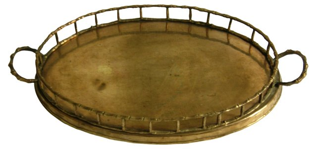 Brass Oval Bamboo Serving Tray