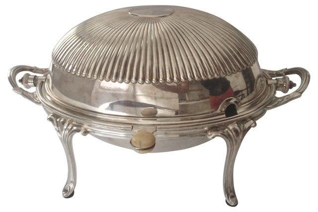 Roll-Top Silver Serving Dish