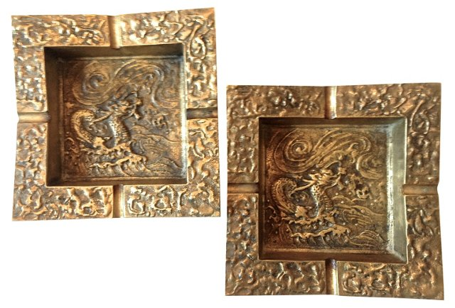 Heavy Brass Asian Dragon Ashtrays, Pair