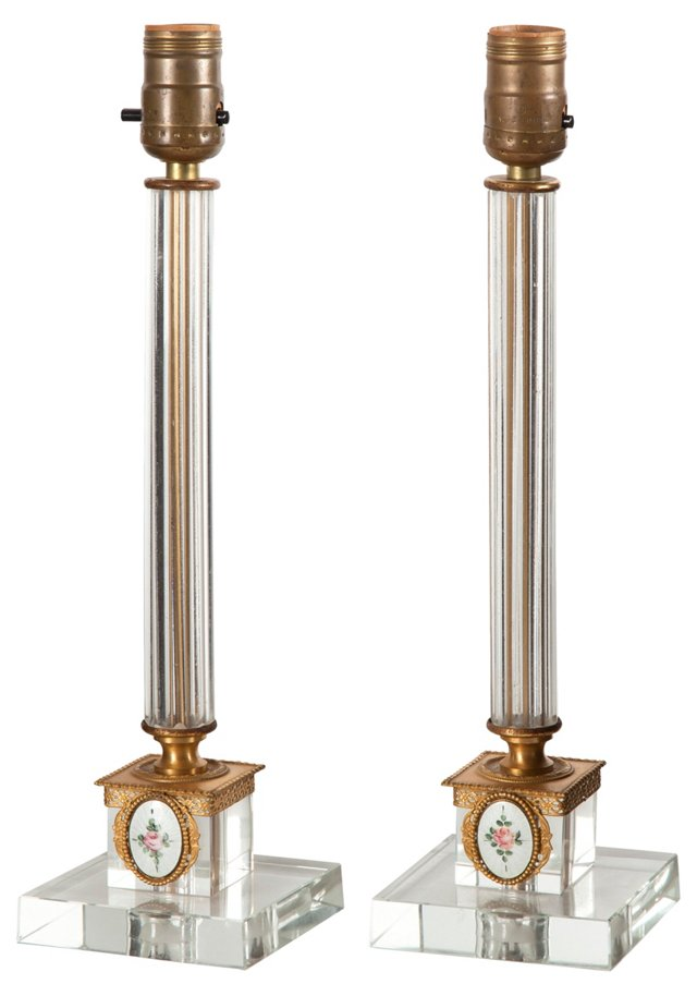 Crystal & Gilt Bronze Lamps, Pair