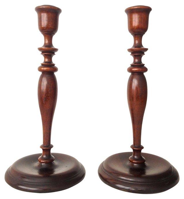English Mahogany Candlesticks, Pair