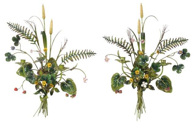 Tole Floral Sconces, Pair