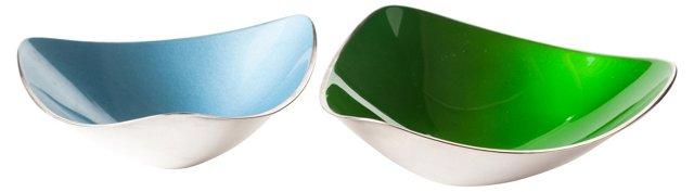 Enameled Silver Bowls, Pair