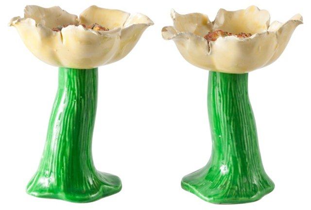 Porcelain Anemone Candleholders, Pair
