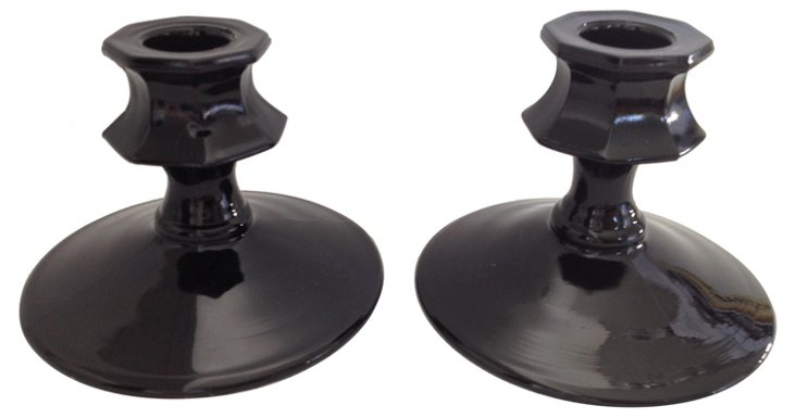 Black Glass Candleholders, Pair