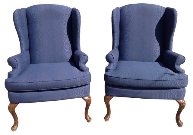 Navy Wingback Chairs, Pair