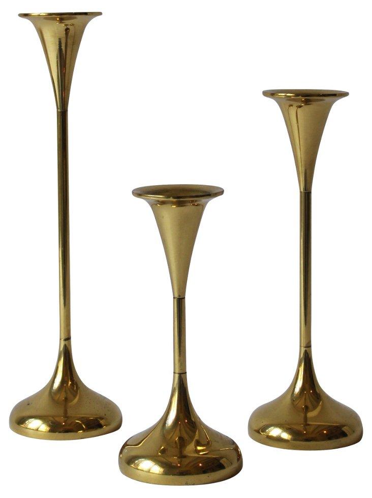 Tiered Brass Candlesticks, Set of 3