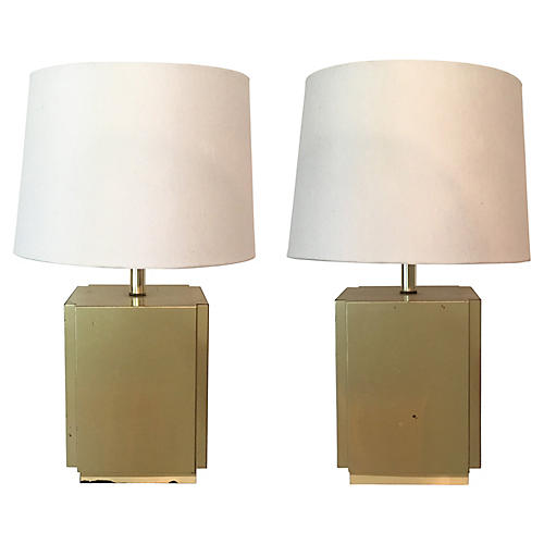 Brass Cube Lamps, Pair