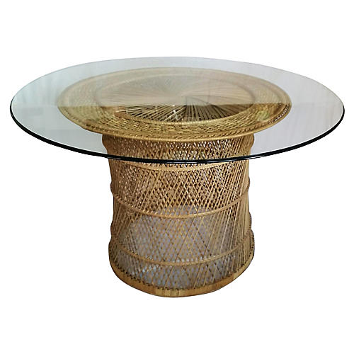 Woven Rattan Dining Table w/ Glass Top