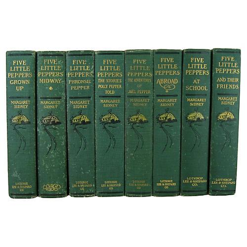 Antique Five Little Peppers Set, 8 Vols