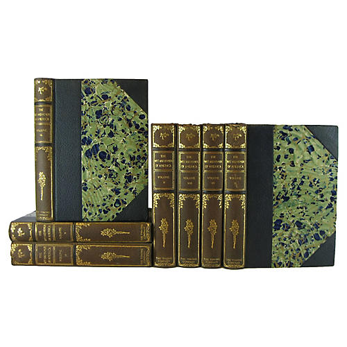 Leather Book Set, S/7