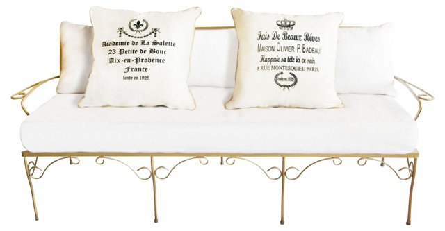 Gold Iron Settee w/ 2 Pillows