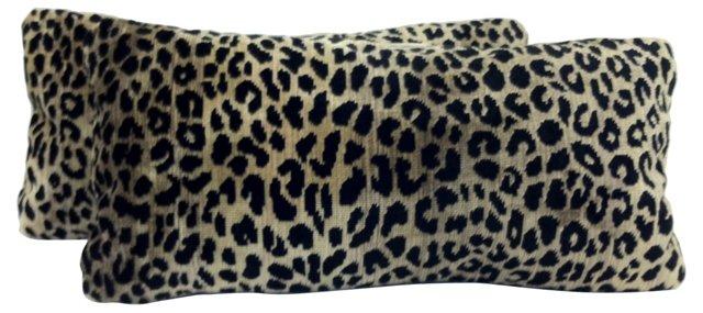 Leopard Velvet Tapestry Pillows, Pair