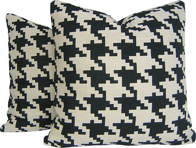 Lee Jofa Houndstooth Pillows, Pair