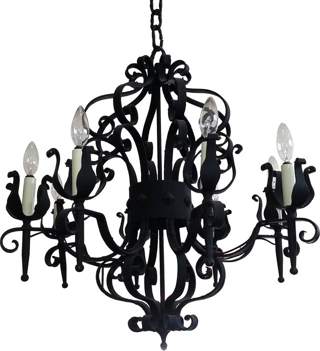 1920s Wrought Iron Chandelier