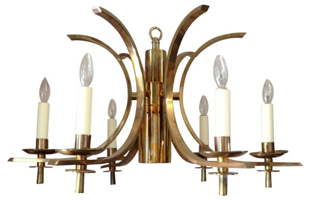 6-Arm Polished Brass Chandelier