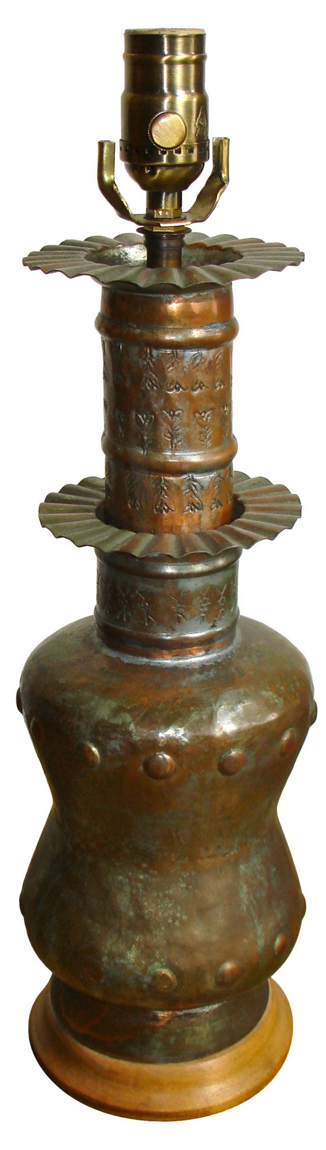 1960s Moroccan Coppered Tin Lamp