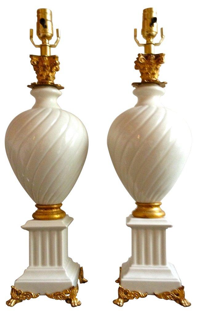 Italian Pedestal Urn Lamps, Pair